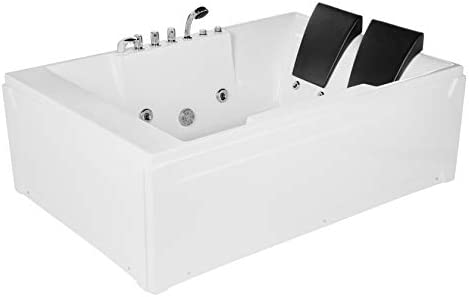 Empava 72″ Acrylic Whirlpool Bathtub 2 Person Hydromassage Rectangular Water Jets Alcove Soaking SPA Double Ended Tub Model 2020