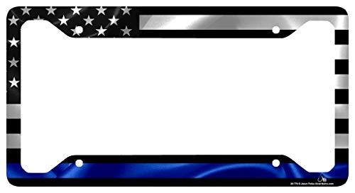 Airstrike Thin Blue Line Black American Flag License Plate Frame, American Flag Car Tag Frame, Policeman License Plate Frame, Police License Plate Frame-30-776