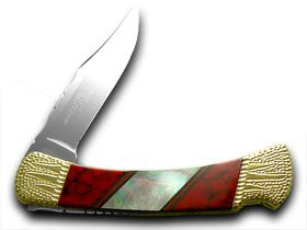 Buck 110 Painted Pony Red Jasper Genuine Abalone Folding Hunter 1/50 Custom Knife Knives