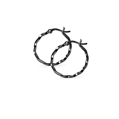 tweight Twist Round Hoop Earrings 1.8 mm x 25mm Black Flashed Rhodium Finish ()