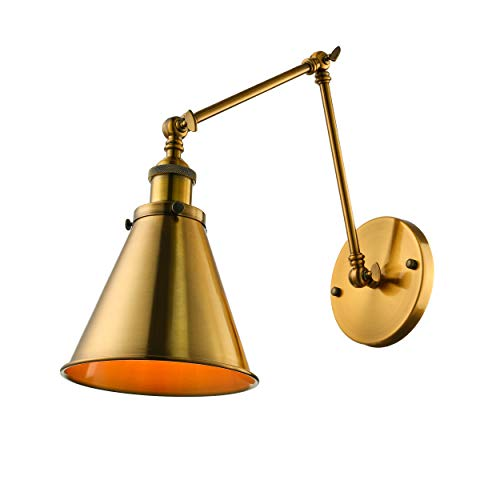 BAYCHEER Industrial Wall Sconce 1 Light Cone Shade Wall Light Sconces Lighting Fixture with Adjustable Arm Brass Finished for Indoor Bar Warehouse Hallway