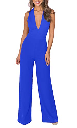 Carprinass Women V-Neck Cocktail Long Jumpsuits Casual Backless Outfits Blue L]()