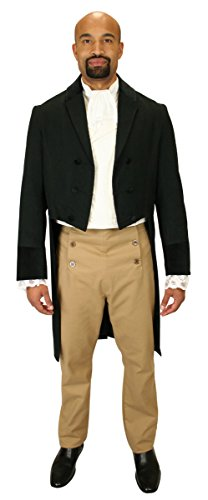 [Historical Emporium Men's Velvet Trimmed Sovereign Regency Tailcoat S Black] (Sweeney Todd Halloween)