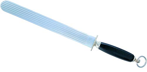 "Diammark Multi-Steel 12"" Knife Steel - Multicut Knife Sharpening Steel - Made In Solingen Germany - Wide Flat Surface - Metal Guard With Ergonomic Handle - Commercial Grade 7650428-69119810"