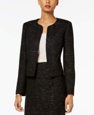 Nine West Women's Sequin Tweed Jacket, Black/Multi, 6