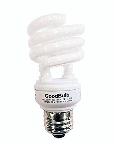 13 Watt Compact Fluorescent Bulb - Warm White Light Bulb - Ultra Mini Spiral CFL Light Bulbs - 2700K - E26 Base - 12 Pack - GoodBulb
