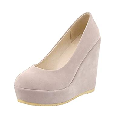YiYLunneo Women's Hidden Wedge Shoes Thick Platform Pump High Heel Dress Shoes Leisure Walking Shoes Party Single Shoes: Clothing