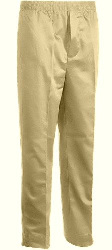 Benefit Wear Mens Full Elastic Waist 5 Pocket Pants with Mock Fly-Khaki (XL)