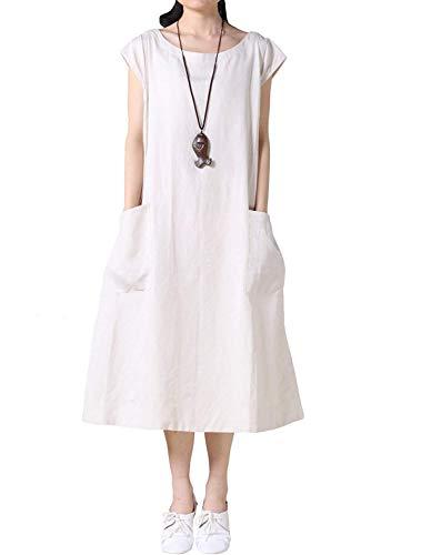 Mordenmiss Women's Cotton Linen Dresses Cap Sleeve Summer Dress with Pockets (2XL, Beige)