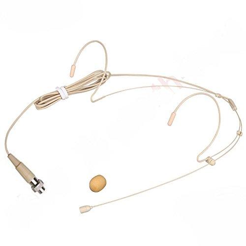 ([WALLER PAA] Beige Headset Microphone For MiPro Wireless Belpack Transmitter - 4pin Mini Lock)