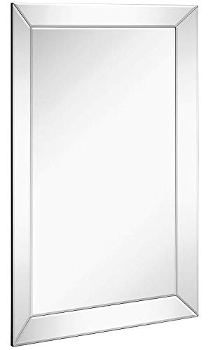 Large Framed Wall Mirror with Angled Beveled Mirror Frame | Premium Silver Backed Glass Panel Vanity, Bedroom, or Bathroom | Luxury Mirrored Rectangle Hangs Horizontal or Vertical (24
