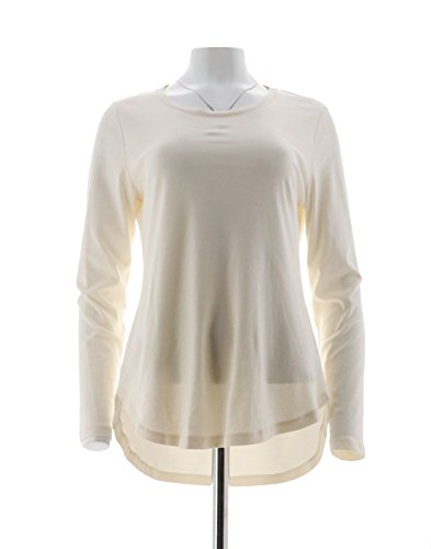 Isaac Mizrahi Pima Cotton Curved Hem Tunic A294460, Cream, M (Cotton Pima Tunic)
