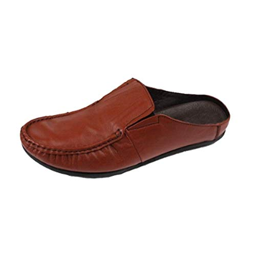 Men Casual Baotou Summer Bottom Leather Stylish Soft Sandals Comodo Burgundy dIaxxqRSw
