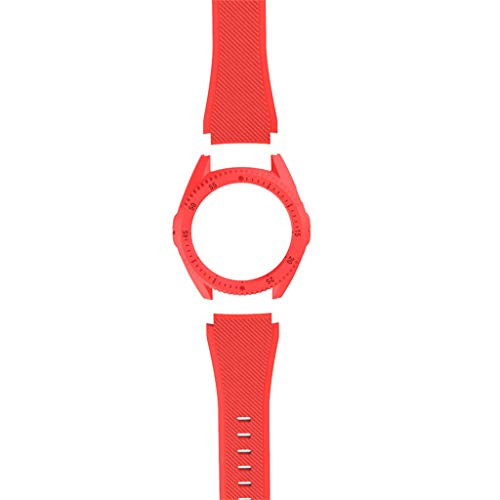 (NOGOQU Replacement Huawei GT Smart Watch Silicone Watch Band Wrist Strap + Hard PC Cover Hard PC Cover (Red) )