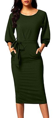 信頼メッセージシマウマ(ラボーグ)La Vogue レディース ワンピース タイト ドレス ひざ丈 7分袖 クルーネック ベルト付き スリット きれいめ 結婚式 パーティー 二次会 グリーン XL
