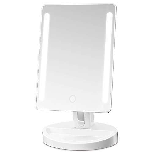Light Makeup Mirror (Gotofine LED Lighted Vanity Mirror / Natural Bright Light Makeup Mirror with adjustable 3.5 Inches 10x Magnification Spot Mirror, Movable & Two Power Supply Mode (White))
