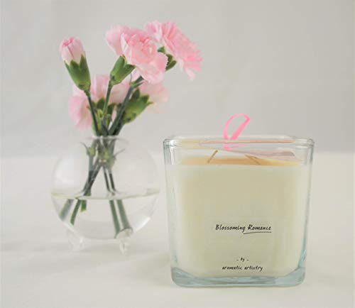Premium All Natural Relaxing Aromatherapy Candle - Medium Square Votive - Blossoming Romance - Geranium & Eucalyptus