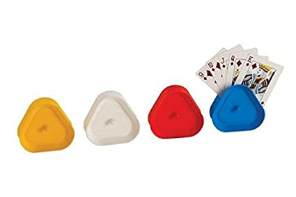 4 Piece Triangular Card Holders in Red, White, Yellow & Blue, Multi