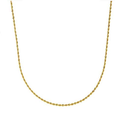 (Cy-Trendy 3mm 24K Gold Plated Rope Link Chain Necklace, 20' Inches)