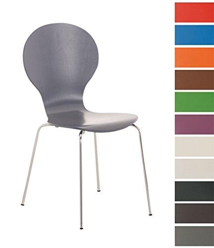 CLP Stapel-Stuhl DIEGO, mit Holzsitz, robust, pflegeleicht, ergonomisch geformter Sitzfläche, bis zu 12 Farben wählbar grau