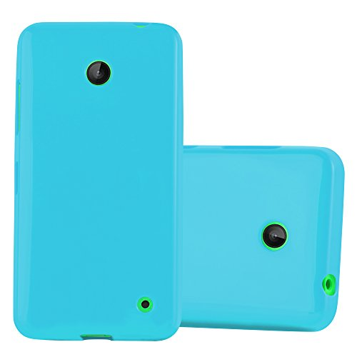Cadorabo Case Works with Nokia Lumia 630/635 in Jelly Light Blue - Shockproof and Scratch Resistant TPU Silicone Cover - Ultra Slim Protective Gel Shell Bumper Back Skin (Nokia Lumia 630 Transparent Case)