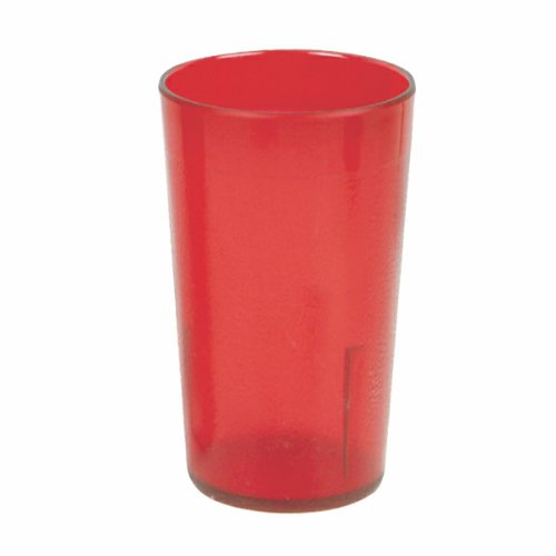 12 oz. Restaurant Tumbler Beverage Cup, Stackable Cups, Break-Resistant Commmerical Plastic, Pebbled Texture, Set of 6 - Ruby Red