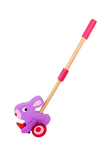 TOYSTER'S Push Along Toddler Walking Pink Rabbit | Wood Stand Up Push and Pull Animal Walker Toys | Gifts for Girls 1 Year Old and Up | PU100