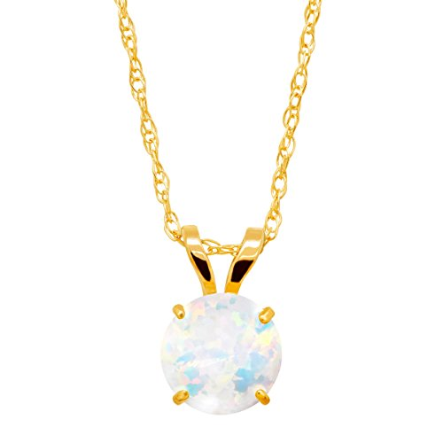 1/3 ct Round-Cut Created Opal Round-Cut Solitaire Pendant Necklace in 10K Gold