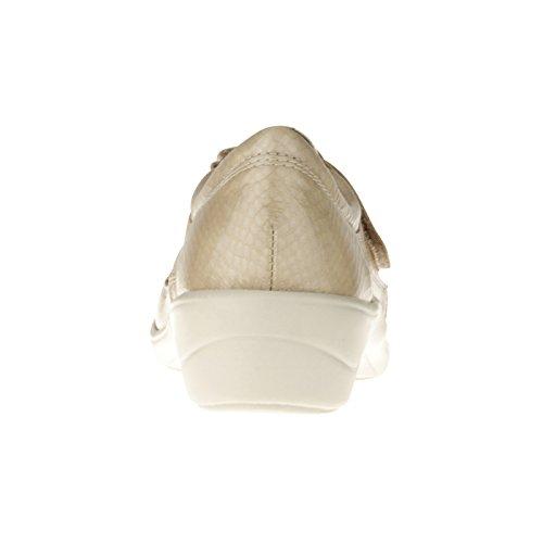 tessamino Damen Orthopädie Halbschuh aus Leder   mit Klettverschluss   Weite H   für Einlagen Beige