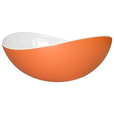 Mebel EN15-M02MV-ORA Medium Size Oblong Salad Bowl in 2-Tone Melamine, Inside White Outside Orange