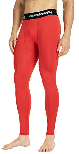 COOLOMG Mens Compression Pants Baselayer Cool Dry Sports Pants Leg Tights for Men Boys Youth Red S ()