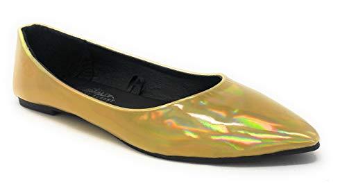 (Charles Albert Women's Pointed-Toe Slip-On Comfort Fit Ballet Flat in Metallic Gold Size: 9)
