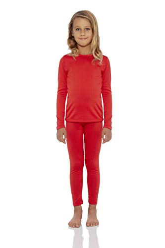 Rocky Girl's Smooth Knit Thermal Underwear 2PC Set Long John Top and Bottom Pajamas (Red, XXS) -