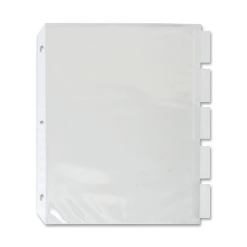 Sparco Top Load Sheet Protectors, with Index Tabs, 5-Tab, 11 x 8-1/2 Inches, CL (SPR74160) (Sheet Protectors With Tabs compare prices)