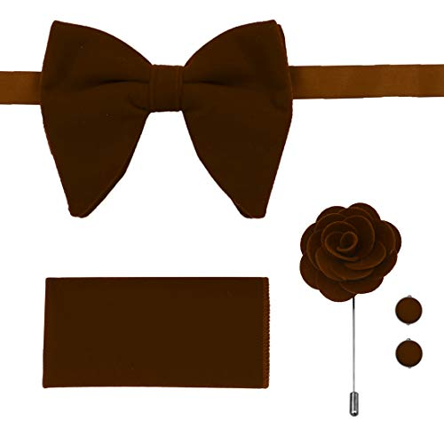 Brown Big Bow Tie Pocket Square Cuff Link Brooch Velvet Soild Chocolate Saddle Brown Oversize Bowties Set Extra Long 21