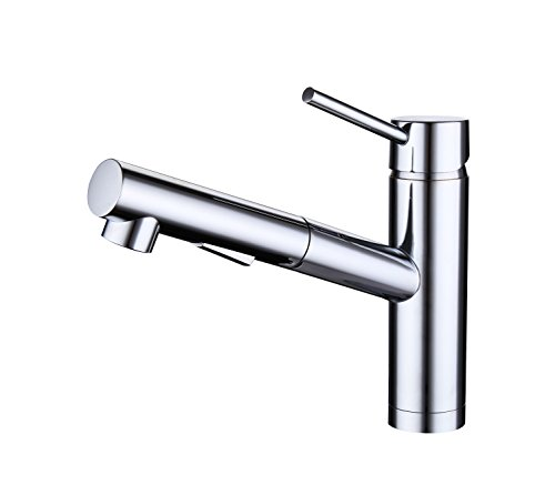 WGOAL Brass Hot and Cold Water Single Handle Single Hole Pulled Down Kitchen Faucet with Spray or Stream, Chrome Finish by WGOAL