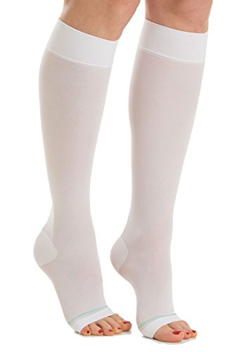 RelaxSan Antiembolism M0350A (White, L) Knee High Compression Socks - 18 - Stockings Anti Embolism Toe