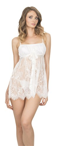 Laundry by Shelli Segal Ella Lace Baby Doll Pajama Sleepwear with Thong Lingerie Set White Small Ivory Chemise