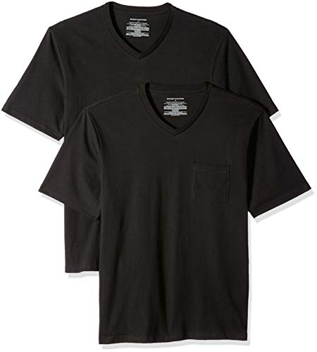 (Amazon Essentials Men's 2-Pack Regular-Fit V-Neck Pocket T-Shirt, Black, XX-Large)
