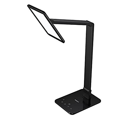 AUKEY LED Desk Lamp, Table Lamp with Extra-Large Panel, USB Charging Port, Dimmable Brightness Adjustment, Smart Touch Sensor and Sleep Mode