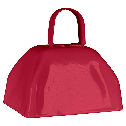 Metal Cowbells with Handles 3 inch Novelty Noise Maker - 12 Pack (Red)