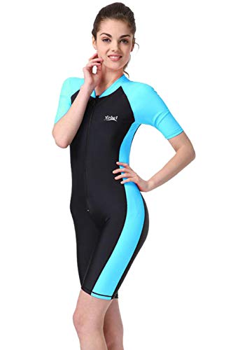 BIKMAN One-Piece Snorkeling Surfing Swim Suit Short Sleeves Plus Size Swimwear- Sun Protection (L(Weight:132lbs-143lbs), Light Blue)