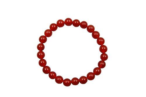 EVE SUN Natural Gems Jade Bracelet Jewelry Handmade Beaded Heal 8mm Stretch Bracelet (Red-agate) - Red Jade Beaded Bracelet