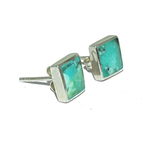 Fashion Turquoise gemstone genuine 925 sterling silver square 6 mm fashion stud earrings for women unisex studs by artisan ()