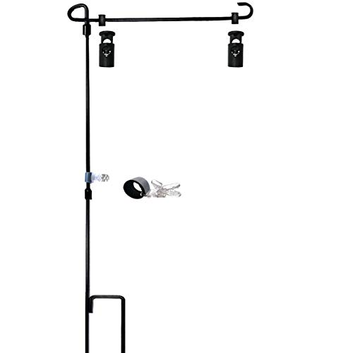 (Garden Flag Stand-Holder-Pole with Garden Flag Stopper and Anti-Wind Clip 36.3