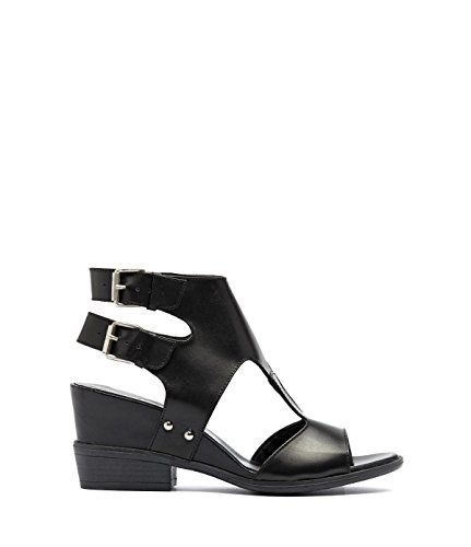 PoiLei Loni - Damen Schuhe / Riemchen-Sandale mit Keilabsatz und Cut-Outs schwarz
