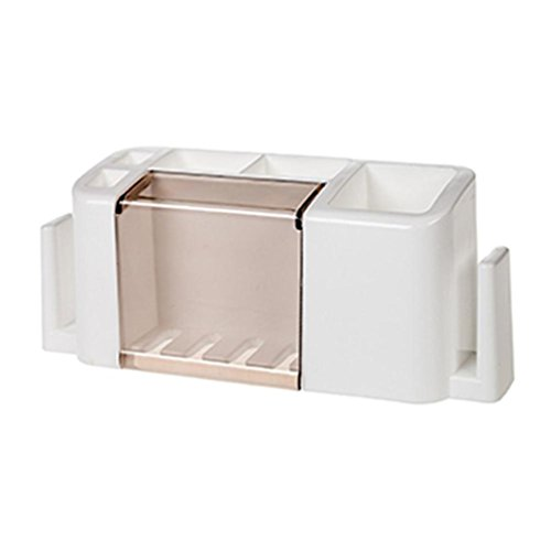 FULLRITAA New Multifunctional Toothpaste And Toothbrush Holder Creative Storage Case Bathroom white ()
