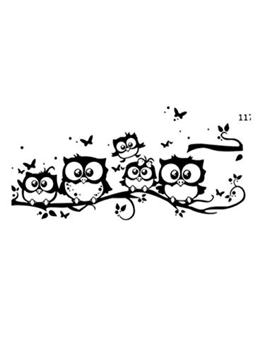 Kids Vinyl Art Cartoon Owl Butterfly Wall Sticker Decor Home Decal Party Festival Wall Stickers Wallpaper (Black, 55 * 25cm) -