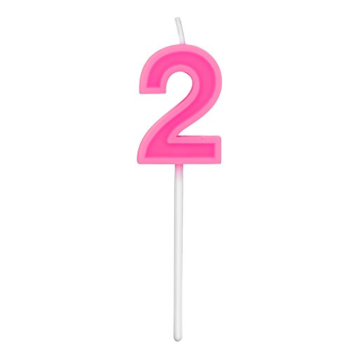Extra length happy birthday cake toppers colorful numeral candles, classic pink 2 number candles with plastic stem for party celebration decorating cake topper (Pink number -