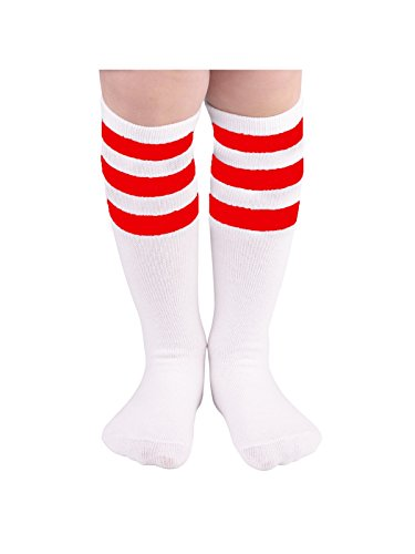 White Dress Up Top Child (Zando Cotton Casual Knee High Triple Stripes Athletic Tube Socks for Kids C White w Red One Size for 3-5T)